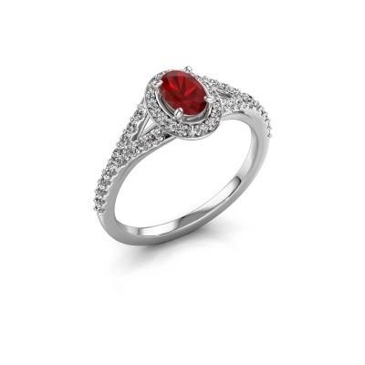 Engagement ring Pamela OVL 950 platinum ruby 7x5 mm