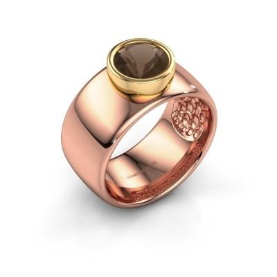 Foto van Ring Klarinda 585 rosé goud rookkwarts 7 mm