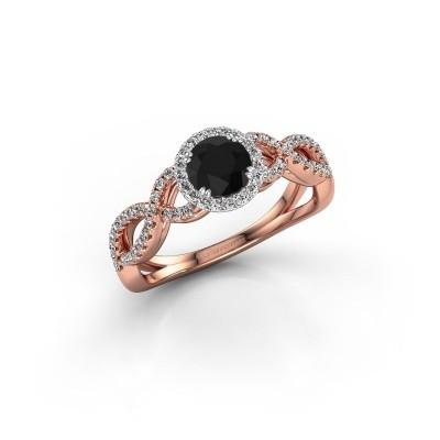 Engagement ring Dionne rnd 585 rose gold black diamond 0.920 crt
