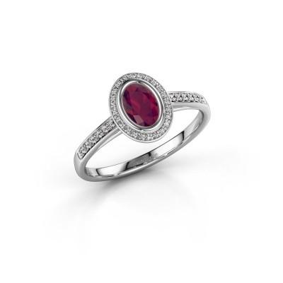 Engagement ring Noud 2 OVL 585 white gold rhodolite 6x4 mm