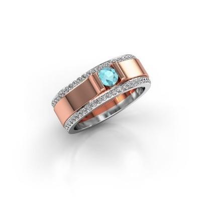 Men's ring Danillo 585 rose gold blue topaz 4.2 mm