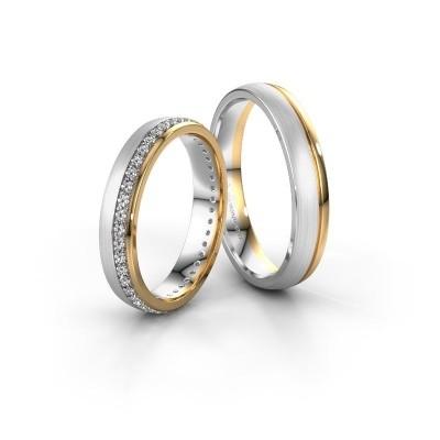 Photo de Alliances set WH0303LM24AM ±4x1.7 mm or blanc diamant 0.44 crt