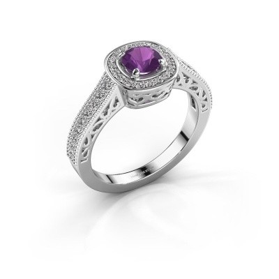 Engagement ring Candi 585 white gold amethyst 5 mm