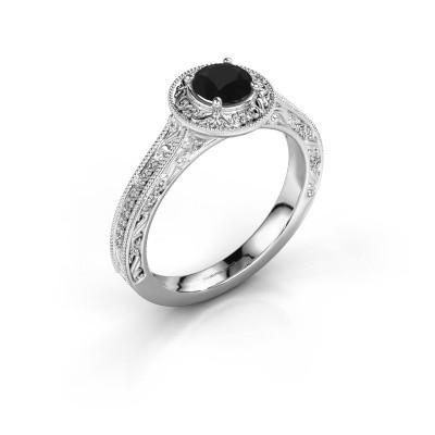 Verlovings ring Alice RND 585 witgoud zwarte diamant 0.70 crt