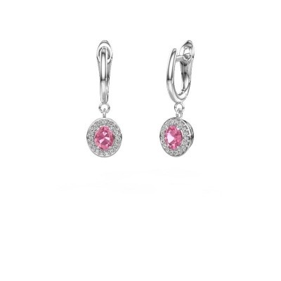 Drop earrings Nakita 585 white gold pink sapphire 5x4 mm
