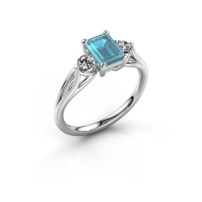 Foto van Verlovingsring Amie EME 585 witgoud blauw topaas 7x5 mm
