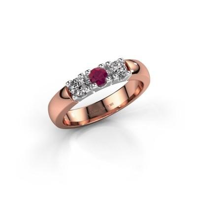 Foto van Verlovingsring Rianne 3 585 rosé goud rhodoliet 3.4 mm