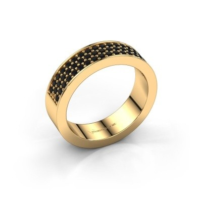 Ring Lindsey 4 375 gold black diamond 0.636 crt