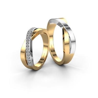 Foto van Trouwringen set WHR0395LM ±6x2.4 mm 14 karaat goud diamant 0.008 crt
