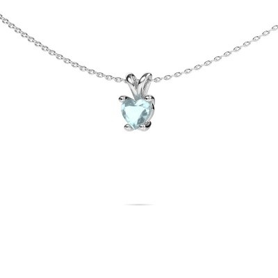 Picture of Necklace Sam Heart 950 platinum aquamarine 5 mm