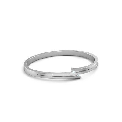 Photo de Bracelet Roxane 950 platine aigue-marine 2 mm
