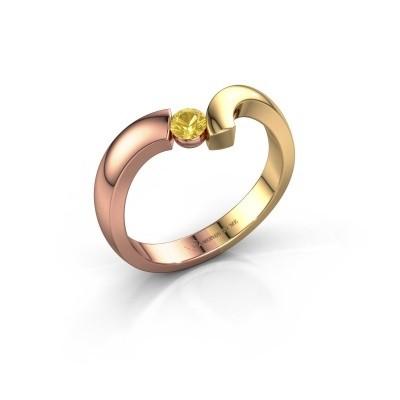 Foto van Ring Arda 585 rosé goud gele saffier 3.4 mm