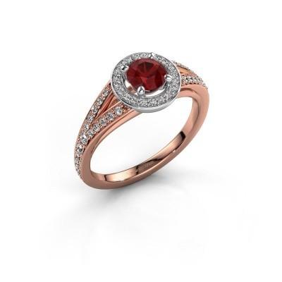 Aanzoeksring Angelita RND 585 rosé goud robijn 5 mm