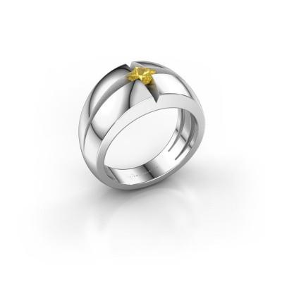 Foto van Heren ring Rens 585 witgoud gele saffier 3.5 mm