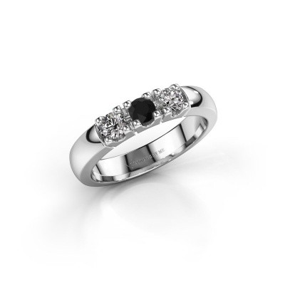 Picture of Engagement ring Rianne 3 585 white gold black diamond 0.48 crt