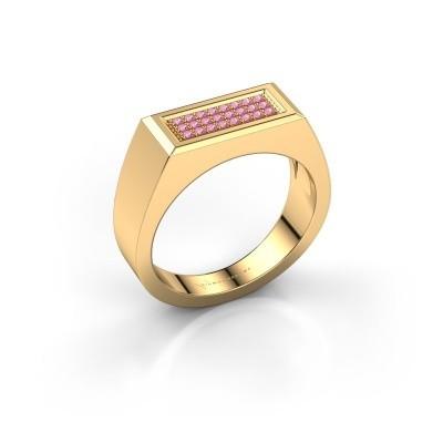 Men's ring Dree 6 375 gold pink sapphire 1.1 mm