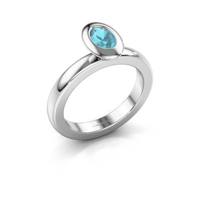 Stapelring Trudy Oval 925 zilver blauw topaas 6x4 mm