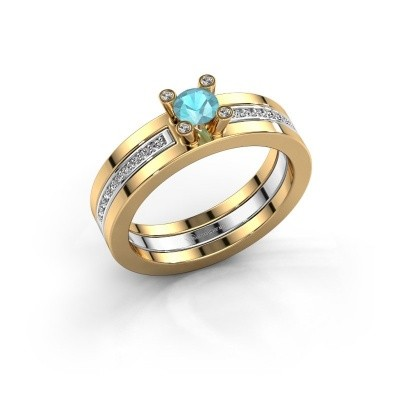 Foto van Ring Alisha 585 goud blauw topaas 4 mm