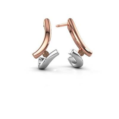 Oorbellen Amy 585 rosé goud bruine diamant 0.09 crt