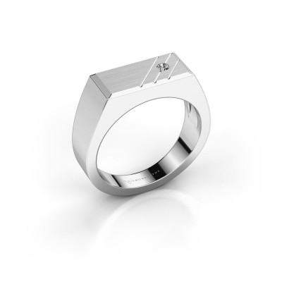 Men's ring Dree 5 585 white gold zirconia 2.4 mm