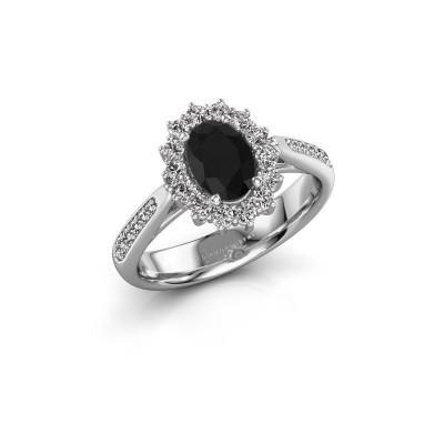 Verlovingsring Margien 2 925 zilver zwarte diamant 0.96 crt