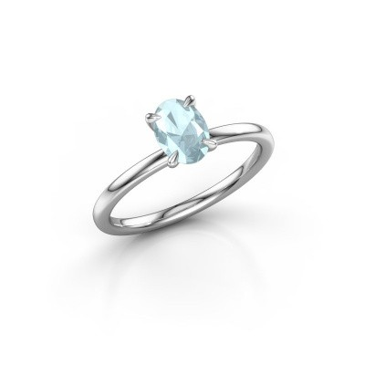 Picture of Engagement ring Crystal OVL 1 950 platinum aquamarine 7x5 mm
