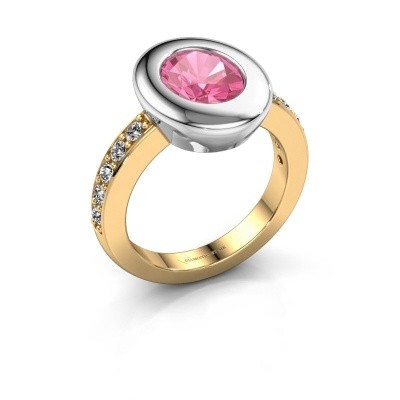 Ring Selene 2 585 gold pink sapphire 9x7 mm
