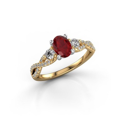 Picture of Engagement ring Marilou OVL 585 gold ruby 7x5 mm
