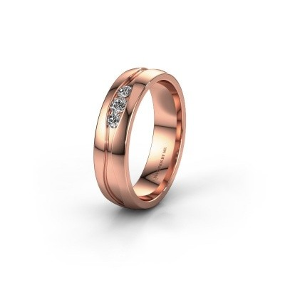 Wedding ring WH0172L25A 375 rose gold zirconia ±5x1.7 mm