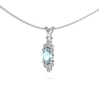 Picture of Pendant Lucy 2 950 platinum aquamarine 7x5 mm