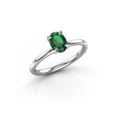 Foto van Verlovingsring Crystal OVL 1 950 platina smaragd 7x5 mm