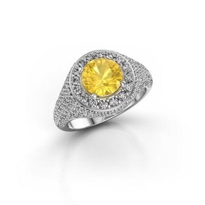 Foto van Ring Dayle 585 witgoud gele saffier 7 mm