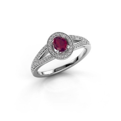Verlovings ring Angelita OVL 585 witgoud rhodoliet 6x4 mm