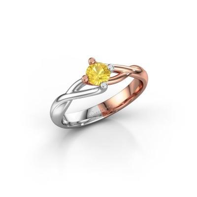 Foto van Ring Paulien 585 rosé goud gele saffier 4.2 mm