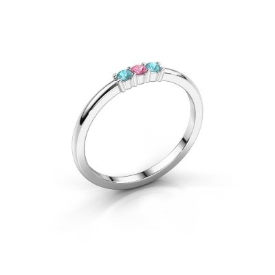 Foto van Verlovings ring Yasmin 3 585 witgoud roze saffier 2 mm