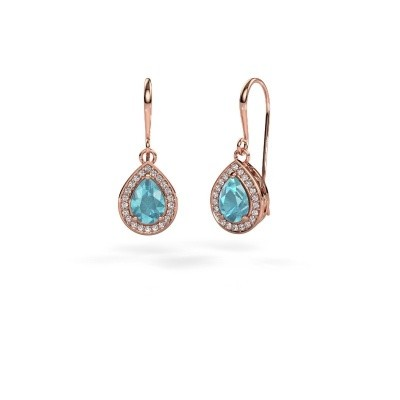 Picture of Drop earrings Beverlee 1 375 rose gold blue topaz 7x5 mm