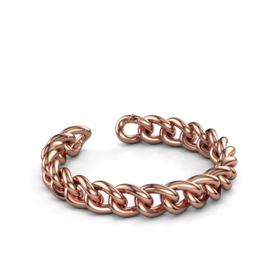 Cuban link armband ±12 mm 375 rosé goud