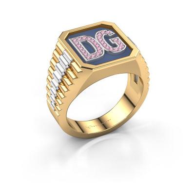 Foto van Zegelring Mike 585 goud roze saffier 1 mm