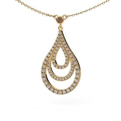 Foto van Hanger Delpha 375 goud bruine diamant 0.487 crt