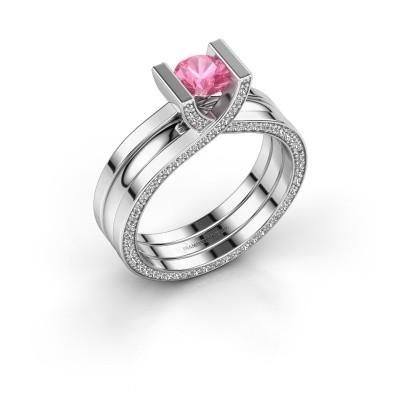 Foto van Ring Kenisha 585 witgoud roze saffier 5 mm