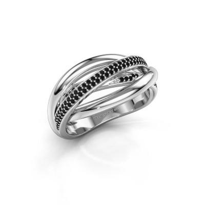 Foto van Ring Candice 925 zilver zwarte diamant 0.288 crt