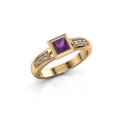 Stacking ring Lieke Square 585 gold amethyst 4 mm