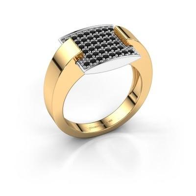 Bague Silke 585 or jaune diamant noir 0.36 crt