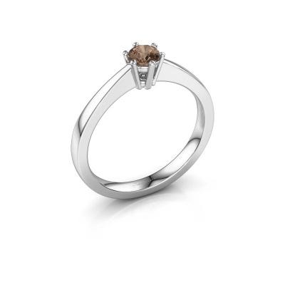 Bague de fiançailles Noortje 950 platine diamant brun 0.25 crt