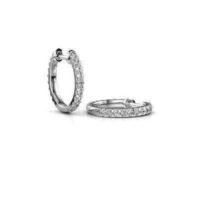 Foto van Creolen Jackie 12.5 mm A 585 witgoud diamant 0.63 crt