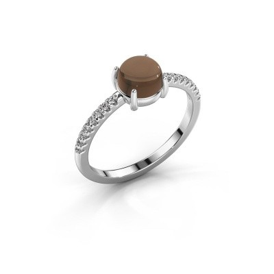Ring Cathie 585 witgoud rookkwarts 6 mm