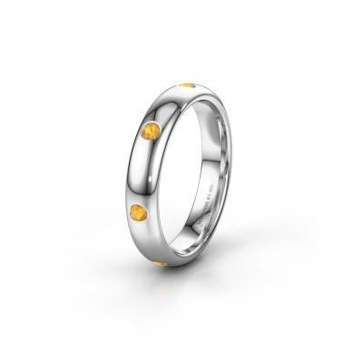 Wedding ring WH0105L34BP 375 white gold citrin ±4x2 mm