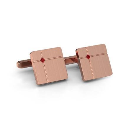 Foto van Manchetknopen Hilco 375 rosé goud robijn 2 mm