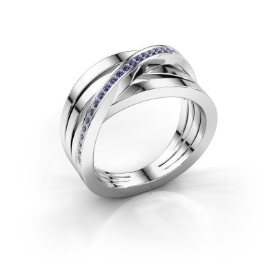 Foto van Ring Esmee 585 witgoud saffier 1 mm