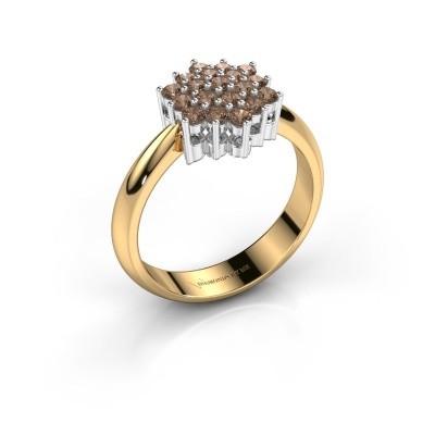 Ring Bente 585 goud bruine diamant 0.532 crt